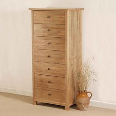 tallboyCairo Natural Solid Oak 7 Drawer Chest