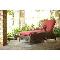 martha stewart living cedar island allweather wicker adjustable patio chaise lounge with dragon fruit - Martha Stewart Outdoor Furniture