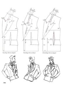 Jacket and revers. Pattern Library, Pattern Books, Pattern Paper, Coat Patterns, Dress Sewing Patterns, Clothing Patterns, Tailoring Techniques, Sewing Techniques, Sewing Coat