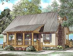 Bluff's Edge Cabin Cottage - 59123ND | Cottage, Vacation, Narrow Lot, CAD Available, PDF | Architectural Designs