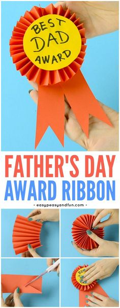 Geschenk Vatertag: DIY Paper Award Ribbon Father's Day Craft for Kids - Diy Father's Day Gifts, Father's Day Diy, Craft Gifts, Fathers Day Art, Easy Fathers Day Craft, Fathers Day Ideas, Happy Fathers Day Cards, Homemade Fathers Day Card, Fathers Day Presents