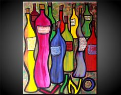 "Original Large Abstract Painting Wine Bottles Retro Fine Art Deep Canvas Modern Contemporary Colorful 24x30x1.5"" JMS. $149.99, via Etsy."