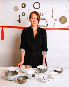Maker and curator Helen Carnac with her enamel bowls. Her practice is 'drawing, mark-making, the explicit connections between material, process and maker and an emphasis on deliberation and reflection are all central to her practice as a maker and thinker.'