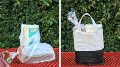 You know those plastic grocery sacks you keep collection in your kitchen cabinets? Put 'em to use. | Turn Plastic Sacks Into A Recycled Tote