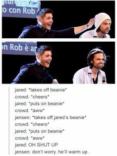 Jensen Ackles and Jared Padalecki, ladies and gentlemen. Jensen Ackles, Jared And Jensen, Jared Padalecki, Misha Collins, Destiel, Johnlock, Bae, Supernatural Tv Show, Bubbline
