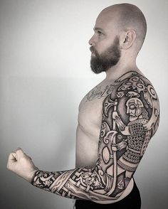 ▷ 1001 cool and realistic Viking tattoos to inspire ▷ 1001 coole und realistische Viking Tattoos zum Inspirieren viking tattoo, man with long beard, tattoo sleeves, tattoos in black and gray Viking Tattoo Sleeve, Tribal Sleeve Tattoos, Celtic Tribal Tattoos, Tattoo Sleeves, Rune Tattoo, Norse Tattoo, Tattoo Man, Beard Tattoo, Viking Tattoos For Men
