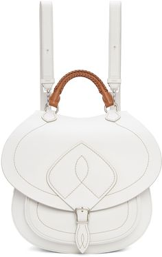Maison Margiela: White Leather Satchel Backpack | SSENSE