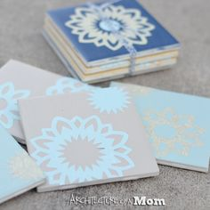 Architecture of a Mom: Paper Doily Tile Coasters with Mod Podge