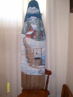 Snowscene Painting on Old Wooden Ironing Board by Arkansas Artist Diana