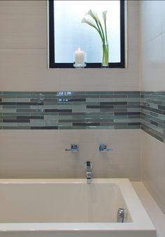 Discount Tile Outlet | Bellevue  - long glass strip against large cream tiles