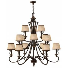 Buy the Hinkley Lighting Olde Bronze Direct. Shop for the Hinkley Lighting Olde Bronze Plymouth 15 Light 3 Tier Chandelier and save. Candle Wall Sconces, Wall Sconce Lighting, Cool Lighting, Chandelier Lighting, Cabin Lighting, Lighting Ideas, Foyer Chandelier, Chandelier Shades, Chandeliers