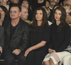 NSinger Bono, Ali Hewson and Eve Hewson attend the Edun fashion show during Mercedes-Benz Fashion Week Spring 2015