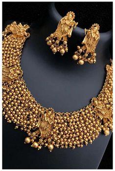 Jewelry Design Earrings, Gold Earrings Designs, Necklace Designs, Latest Necklace Design, Gold Bangles Design, Gold Jewellery Design, Gold Jewelry, Gold Temple Jewellery, Diamond Jewellery