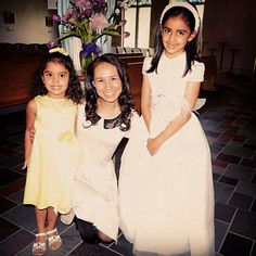 A quick photo with friends after their daughter's first Communion. :)