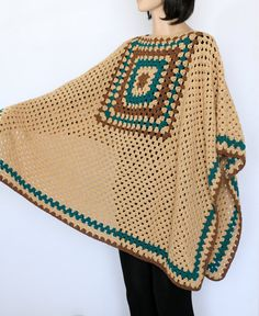 Extra Large Beige tan Indian Granny Poncho Crocheted Poncho