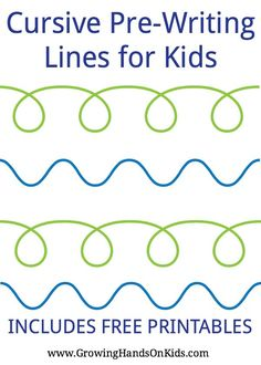 Pre-writing line and stroke printables for preschoolers and kids. Great for pre-cursive writing. Teaching Cursive Writing, Teaching Handwriting, Improve Your Handwriting, Teaching The Alphabet, Handwriting Worksheets, Pre Writing, Writing Skills, Writing Activities, Preschool Alphabet