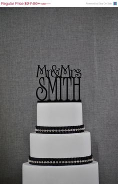 ON SALE Last Name Wedding Cake Topper by Chicago Factory