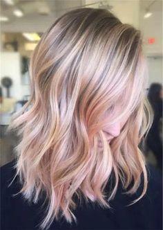 Hair Color Highlights, Balayage Highlights, Ombre Hair Color, Hair Color Balayage, Blonde Color, Ombre Rose, Blonde Hair With Pink Highlights, Rose Gold Highlights, Box Braids Hairstyles