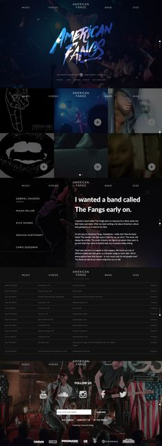 Responsive One Pager for 'American Fangs' - an alternative rock band based in Houston, Texas. Just love the brush-style logo overlay on the video background header. Also neat Soundcloud integration and nice little touch with the hover on band member names changing the background image.