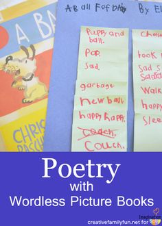 so creative! Use sticky notes and wordless picture books to write a poem!