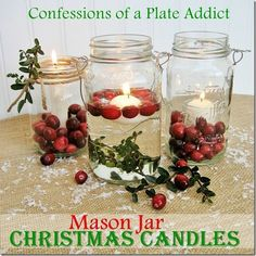 These Mason Jar Christmas Candles from Confessions of a Plate Addict are absolutely beautiful handmade Christmas decorations. This jar craft is perfect for your Christmas dining room table.