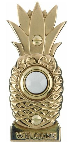 Features: -Solid brass eschutcheon with stepped edge and pineapple design. -Battery operated: No. -Chimes: Yes. Pineapple Lights, Pineapple Room, Pineapple Ideas, Doorbell Button, Doorbell Chime, Step Edging, Pineapple Design, Pomellato, My New Room