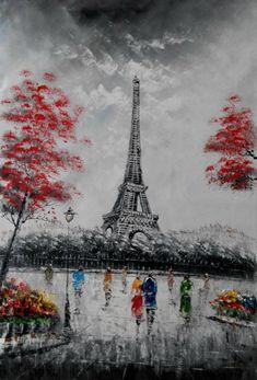 100% Geniun Oil painting Paris Street Scene & by CooldeArtStudio