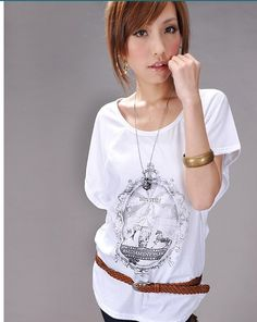 Fashion Style Bat-wing Sleeve T-shirt White - $17.50