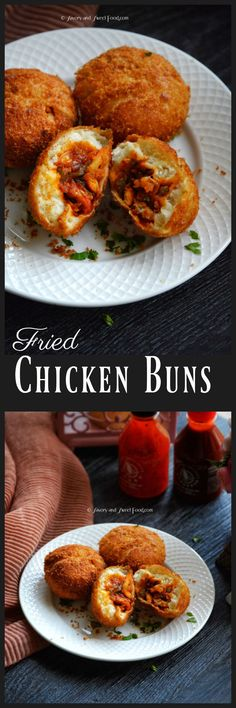Fried Chicken Buns consists of a spicy, saucy chicken filling encased in bread dough, covered in bread crumbs and then deep fried till golden brown. Fun Easy Recipes, Other Recipes, Brunch Recipes, Fall Recipes, Indian Food Recipes, Breakfast Recipes, Easy Meals, Dinner Recipes, Indian Snacks