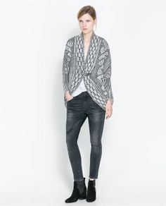$79.90 ZARA - WOMAN - JACQUARD WRAP-AROUND CARDIGAN