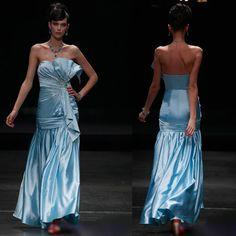 Petite-Plus Size Blue Satin Strapless Mermaid Evening Pageant Dresses SKU-122495