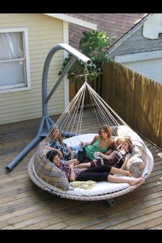 Outdoor Bed, Hammock Bed -The Floating Bed Co. Hmmm does anyone have an old trampoline? Outdoor Hammock Bed, Outdoor Beds, Outdoor Fun, Outdoor Living, Outdoor Decor, Backyard Hammock, Trampoline Swing, Hammock Swing, Patio Bed