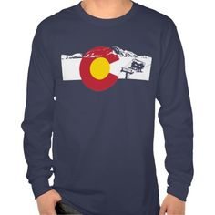 Colorado Flag with Chair Lift Long Sleeve T-shirt #gifts #colorado