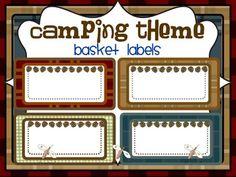 Camping Theme Classroom Printables | CAMPING THEME BASKET LABELS-classroom theme {printables)