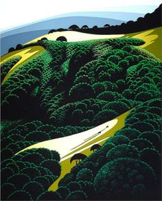 Eyvind Earle (American: 1916 - 2000) - Carmel Valley (1982)