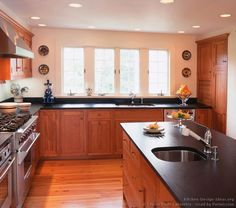 Traditional Light Wood Kitchen Cabinets  #142 (Crown-Point.com, Kitchen-Design-Ideas.org)