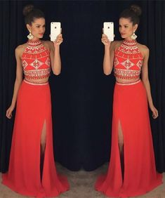 2016 Two-Piece Prom Dresses High Neck Hollow Open Back Side Split Sexy Evening Gowns
