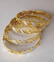 Buy Golden Dancing Bangles  - Set of 4 with American Diamonds bangles-and-bracelet online