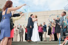 Marie & Alex's modern, nontraditional DC wedding at Katzen Arts Center | Photography: Roman Grinev | Planned by: The Plannery