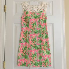 Lilly Pulitzer Lacina dress in nibbles print Your go to dress for the summer! Great fluorescent nibbles print from Lilly Pulitzer! NWT. Lined. 100% cotton. 34 inches long. Lilly Pulitzer Dresses