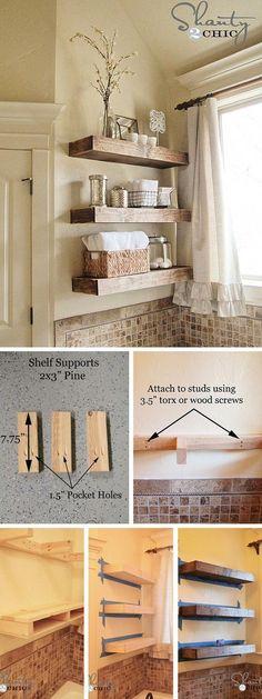 Rustic bathroom shelves - 10 DIY Bathroom Upgrades To Decorate Your Bathroom Rustic Bathroom Shelves, Rustic Shelves, Bathroom Cabinets, Bedroom Shelves, Linen Cabinets, Restroom Cabinets, Kitchen Shelves, Baby Room Shelves, Rustic Wooden Shelves