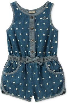 Calvin Klein Dot-Print Cotton Denim Romper, Little Girls - Blue sweet dot print delights on this cute lightweight cotton denim romper from Calvin Klein.Perfect for playing in the park, this cotton denim romper from Calvin Klein features an elastic Frocks For Girls, Little Girl Dresses, Baby Outfits, Kids Outfits, Baby Girl Romper, Baby Girls, Toddler Girls, Kids Dress Wear, Baby Dress Design