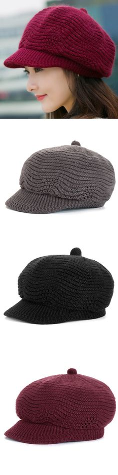 Women Vintage Wool Knitted Windproof Warm Hat Pure Color Octagonal Cap French Beret Hats