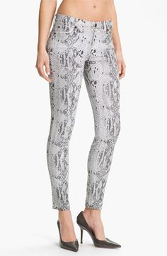 7 For All Mankind® 'The Skinny' Print Stretch Jeans (Black And White Cobra) available at Nordstrom