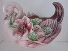 $29.99   Beautiful Vee Jackson San Gabriel California Pottery Swan-Gorgeous Pink Tones-Raised Flowers,Vines,Leaves-Vintage-1940 Era-Nice Condition by JEANIESPLACE on Etsy