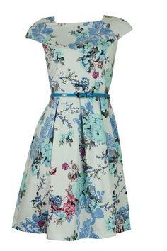 White Blue Oriental Floral Print 50's Style Dress