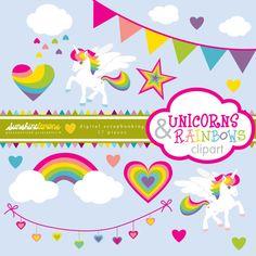 Einhörner und Rainbows-ClipArts Clipart Clipart von SunshineLemons