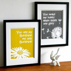 You are my sunshine print set, yellow and grey, custom colors, two art prints, size 8 x 10 kids word art. $27.00, via Etsy.