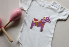 Organic Baby Onesie Dala Horse Bodysuit Romper Applique in White, Natural or Pink Short Sleeve on Etsy, Sold