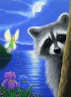 Raccoon Fairy Night Moon Lake Fantasy Limited Edition ACEO Print Art | eBay